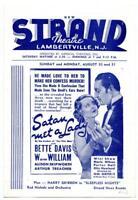 1936 Lambertville New Jersey Strand Movie Theater Program Satan Met a Lady Davis