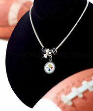 NFL PITTSBURGH STEELERS Euro Beads/Rhinestone Charms Necklace Set,Free Shipping!