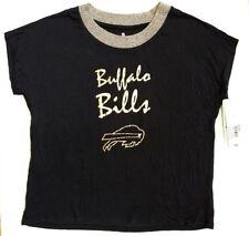 Womens Teens NFL Buffalo Bills Glam T Shirt Gold Black Foil XL 15/17 Sparkle Top