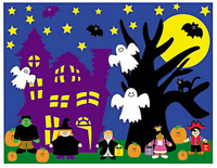 Pack of 12 - A4 Halloween Sticker Scenes - Class Activities - Party Bag Fillers