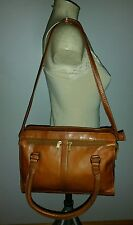 VINTAGE COLOMBIAN LEATHER BRITISH TAN BROWN UNISEX SMALL BRIEF BAG TRAVEL WORK