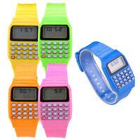 1X(Reloj electronico de silicona de multifuncion de calculadora para ninos y GCR
