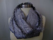 Collection XIIX Metallic Shimmer Tie Dye Fringe Infinity Loop Scarf Silver #4433