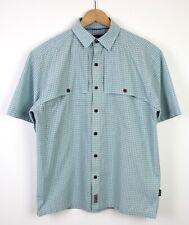 cf00f316 Patagonia Checkered Mens Short Sleeve Casual Shirt Button Up Collar Blue - M