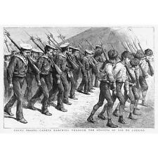 BRAZIL Young Cadets Marching through Rio De Janeiro - Antique Print 1891