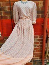 Vintage tea midi Pleated shell dots Dress UK 14  elasticated waist peach summer
