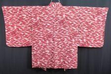 Vintage Japanese Ladies' Ivory/Burgundy 'Leaves' Crepe Kimono Haori Jacket 8-12