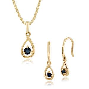 Gemondo 9ct Yellow Gold Single Stone Sapphire Drop Earrings & 45cm Necklace Set
