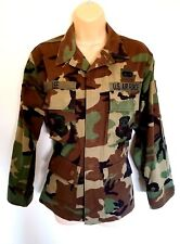US Air Force XS Short Camo Jacket Military BDU Shirt Woodland Camouflage Patches