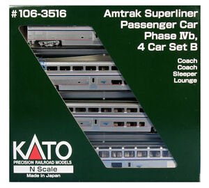 KATO 1063516 N SCALE Superliner 4 CAR Set Amtrak Phase IVb B SET 106-3516  -NEW
