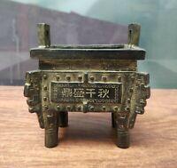 Antique Bronze Tripod China Vintage statue carved Incense Burner Lucky Censer