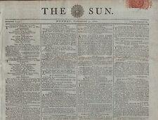 "RARE ORIGINAL NEWSPAPER ""THE SUN"" (3 November 1800 LUNATICS SEIZED AT THE PALACE"