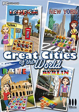 22713 // GREAT CITIES OF THE WORLD 4 JEUX MAJONG + MACH 3 +CASUAL ECT POUR PC