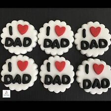 6 Fathers Day Edible Cupcake Toppers  Cake Decorations Sugar Happy Birthday Dad