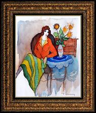 Itzchak TARKAY Original Painting Watercolor Signed Still Life Female Portrait