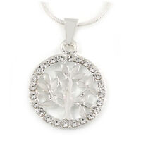 Silver Tone Small Crystal Tree Of Life Round Pendant with Snake Type Chain - 44c
