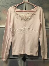R.F Inter Remix Pink Knit Top With Lace Size 10