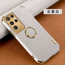 For Samsung Galaxy S21 Plus Ultra Luxury Crocodile Grain Ring Holder Case Cover