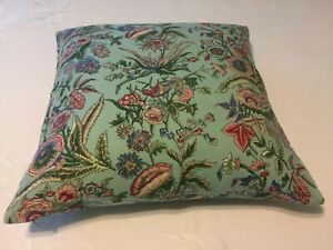 """Pottery Barn Throw Pillow Cover Floral Bird Linen Cotton 18""""x18"""" With Insert"""