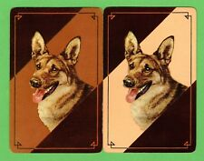 2 Single VINTAGE Playing/Swap Cards DOGS ALSATIAN Brown/Tan Brown/Cream D31