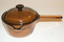 Vision Corning Sauce Pan Pot w Pour Spout 1 Liter Amber Glass Cookware & Lid Ec