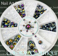 #R36  3D Nail Art Tip Decoration Black White Multicolor Half Round Glitter Pearl