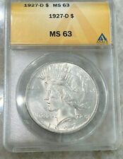 1927-D Silver Peace Dollar - ANACS MS63