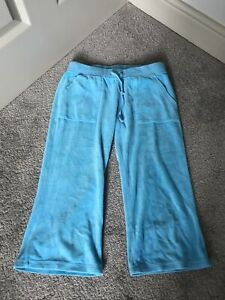Juicy Couture Blue Cropped Velour Tracksuit Bottoms Size Petite