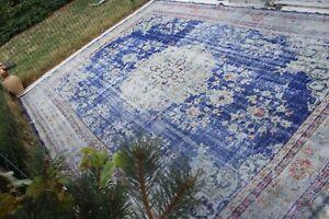 """12x9 Oversize Vintage Handmade Turkish Oushak Large Blue Area Rug 12'7""""x9'"""