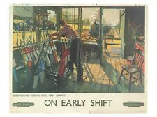 Vintage Repro Travel Poster Postcard, On Early Shift, British Railways JI1