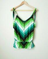 Old Navy Women Sz S Perfect Green Summer Top; Spaghetti Straps Chevron EUC