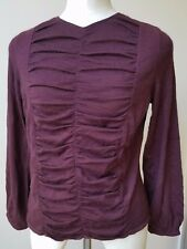Oscar De La Renta Wine Burgundy Cashmere-Silk Ruffled Sweater Size L