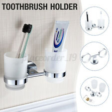 Bathroom Lavatory Double Cup Tumbler Toothbrush Holder Wall Mounted Chrome ,'
