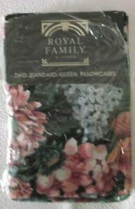 "NIP Vintage Cannon Royal Family Two Standard Pillowcases 20x32"" Black Floral"
