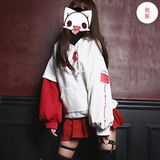 Harajuku Darkness Japanese Yandere Thicken Hooded Pullover Women Hoodies Coat #