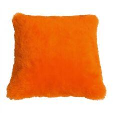 Coussin en Peau de Mouton Mérinos Court Laine Orange 40 X 40 cm + Tique Duvet