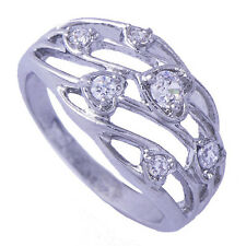 Impressive Womens White Gold Filled Clear Heart Zircon Band Ring Size 5.25