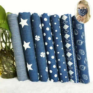 100% Cotton Printed Denim Fabric Jeans Dressmaking Quilting Sewing By The Metre