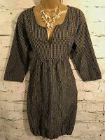 Masai Clothing Ladies Black Beige Check Bubble Lagenlook Dress XS UK 8/10