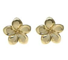 Fancy Plumeria Flower Stud Post Earrings 13Mm Solid 14K Yellow Gold Hawaiian