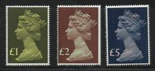 Great Britain Sc MH169, 175-6 1977 £1,2 &5 High Value Machin Head stamps mint NH