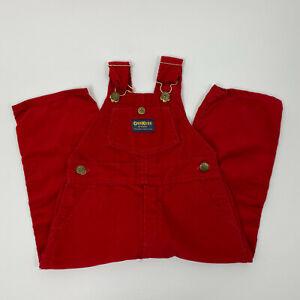 Vintage Osh Kosh B'Gosh Vestbak Size 3T Toddler Red Corduroy Bib Overalls USA