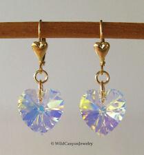 *Handmade* Swarovski Crystal AB Heart Gold-Filled Lever-Back Earrings