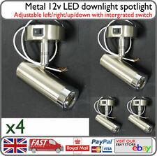 12v LED Spotlight Reading Cabin Down Light Metal 3w Switched x4 - Horsebox Barge