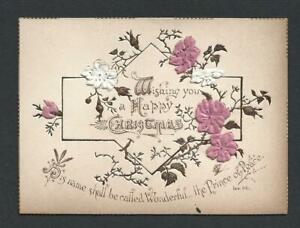 Y07 - VICTORIAN RELIGIOUS SCRIPTURE MOTTO CHRISTMAS CARD - EMBOSSED SILK FLOWERS