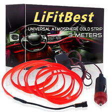 1x Red LED Flexible Neon Light Glow EL Strip Tube Wire Rope Home Car Decor 12V