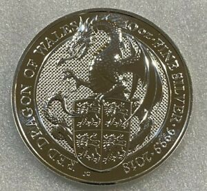 2018 Great Britain Queens Beast 10 oz Red Dragon of Wales Silver Coin