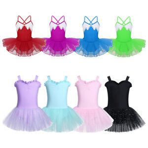 Kid Girls Ruffled Ballet Dance Gymnastics Leotard Tutu Dress Performance Costume
