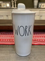 Rae Dunn By Magenta - LL WORK w Lid - White Ceramic Travel Coffee Mug