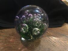 Nice Art Glass Paper Weight - Clear, Green, Gold Flake, Bubbles